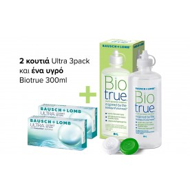 ULTRA πακέτο 2 κουτιών 3pack (6 φακοί) & 1 υγρό Biotrue 360ml